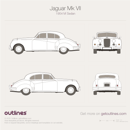 1954 Jaguar Mk VII M Sedan blueprints and drawings