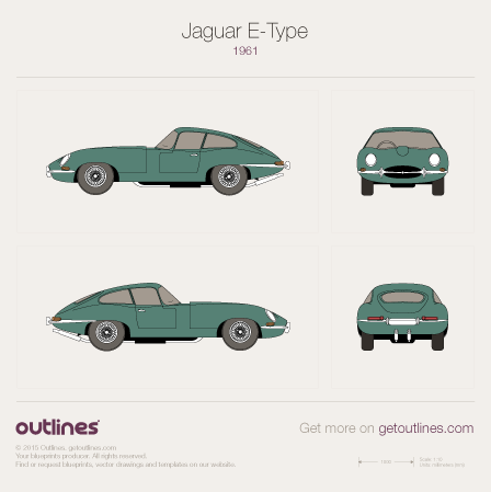 1961 Jaguar E-Type Series 1 Coupe blueprint