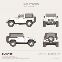 2007 Jeep Wrangler JK Rubicon 3-doors SUV blueprint