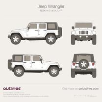 2007 Jeep Wrangler JK Extended Rubicon 5-doors SUV blueprint