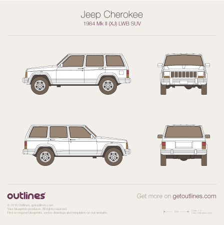 1984 Jeep Cherokee XJ SUV blueprints and drawings