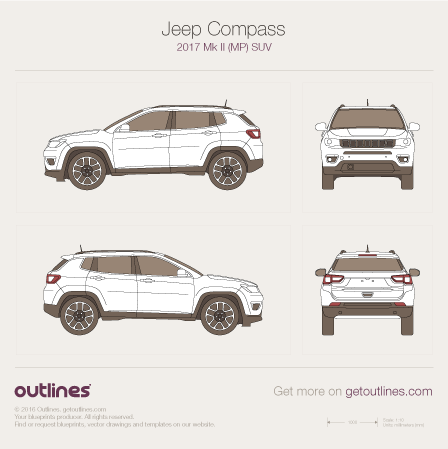 2017 Jeep Compass MP SUV blueprints and drawings