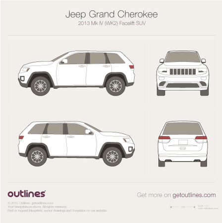 2013 Jeep Grand Cherokee WK2 Mk IV Facelift SUV blueprint