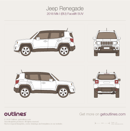 2018 Jeep Renegade BU SUV blueprints and drawings