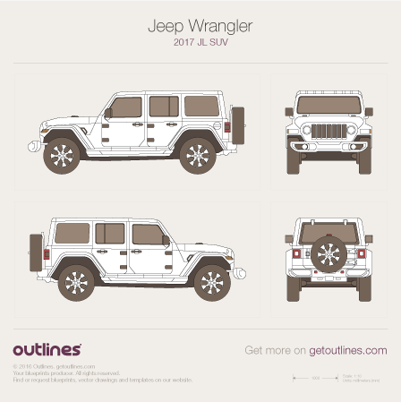 2017 Jeep Wrangler JL SUV blueprints and drawings
