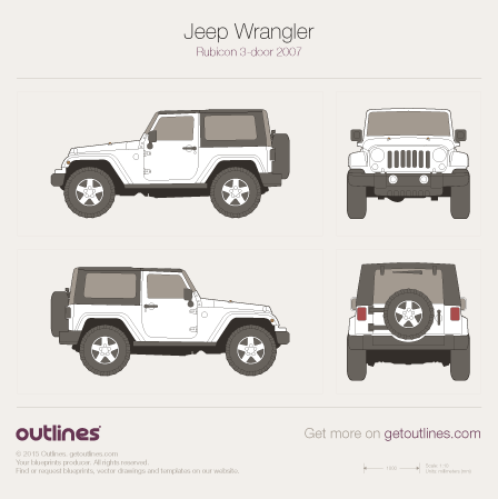 2007 Jeep Wrangler JK Rubicon SUV blueprints and drawings