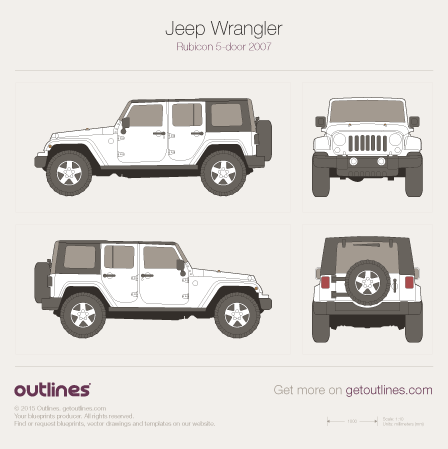 2007 Jeep Wrangler Drawings Outlines