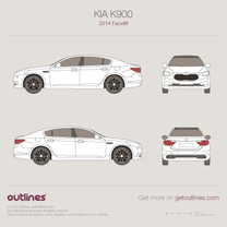 2014 KIA K900 KH Facelift Sedan blueprint