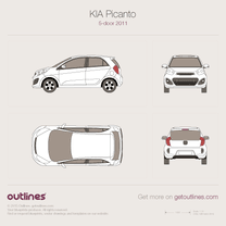 2011 KIA Picanto TA 5-door Hatchback blueprint