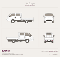 2005 KIA Bongo Double Cabin Pickup Truck blueprint