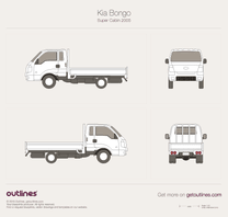 2005 KIA Bongo Super Cabin Pickup Truck blueprint