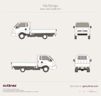 2014 KIA Bongo Super Cabin Facelift Pickup Truck blueprint