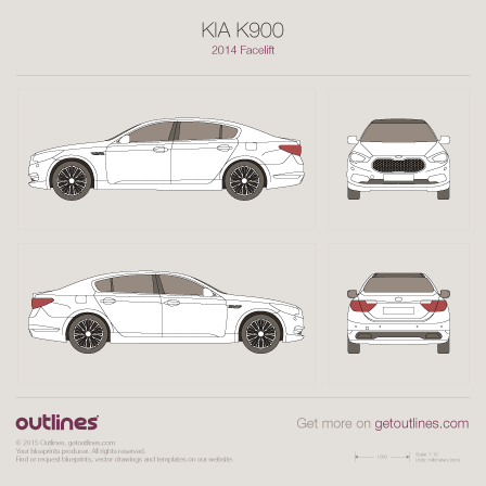 2014 KIA K900 KH Facelift Sedan blueprint