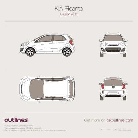 2011 KIA Morning TA Hatchback blueprints and drawings