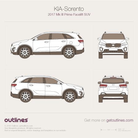 2017 KIA Sorento Mk III Prime Facelift SUV blueprint