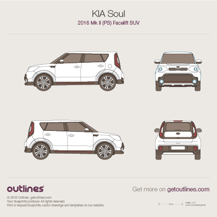 2016 KIA Soul PS Facelift SUV blueprint