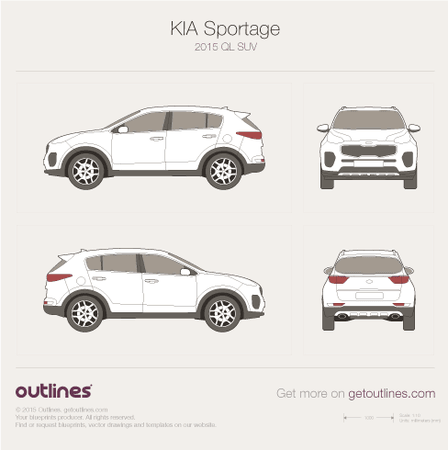 2015 KIA Sportage QL SUV blueprints and drawings