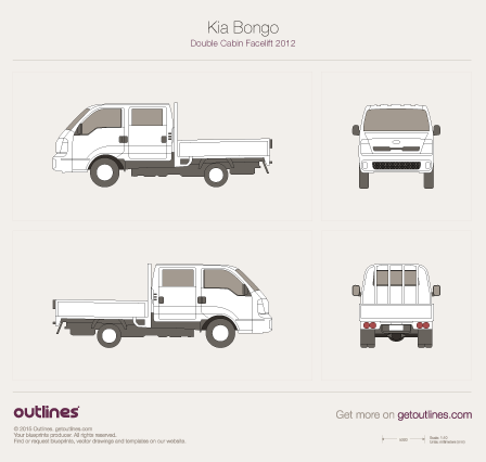 2014 KIA Bongo Double Cabin Pickup Truck blueprints and drawings