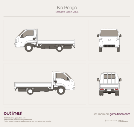 2005 KIA Bongo Standard Cabin Pickup Truck blueprint