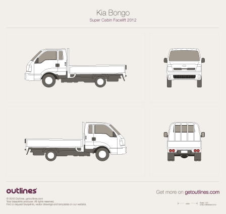 2014 KIA Bongo Super Cabin Pickup Truck blueprints and drawings