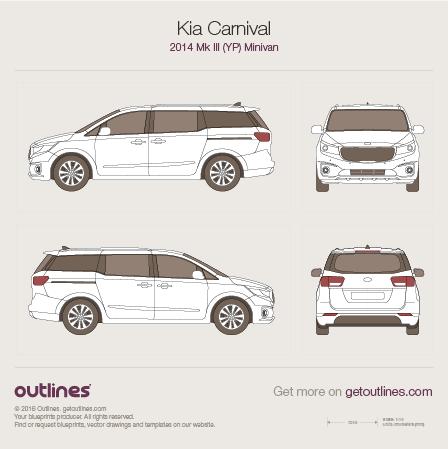 2014 KIA Carnival Grand YP LWB Minivan blueprint