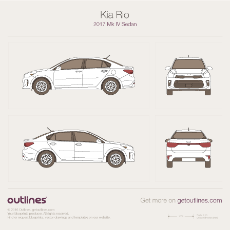 2017 KIA Rio Mk IV Sedan blueprint