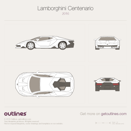 2016 Lamborghini Centenario Coupe blueprints and drawings