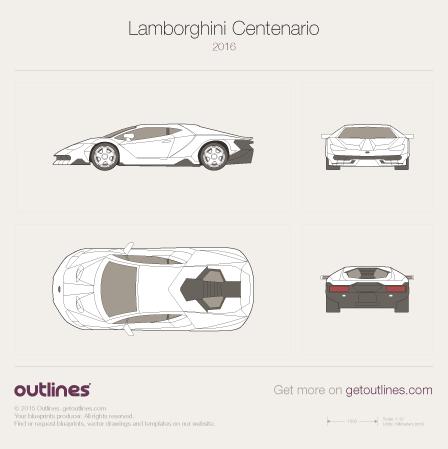 2016 Lamborghini Centenario Coupe Drawings Download Vector