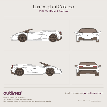 2007 Lamborghini Gallardo Facelift Roadster blueprint