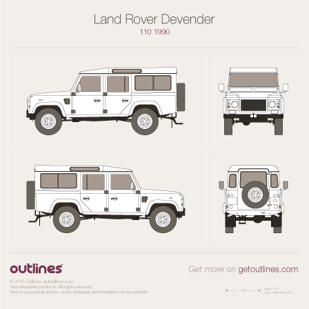 1999 Land Rover Defender 110 SUV blueprints and drawings