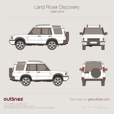 1998 Land Rover Discovery II SUV blueprints and drawings