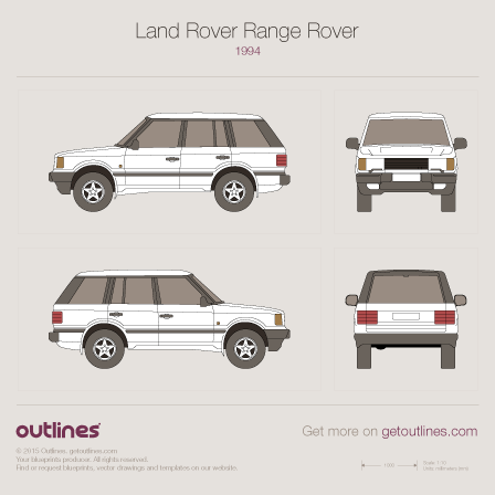 1994 Land Rover Range Rover II SUV blueprints and drawings