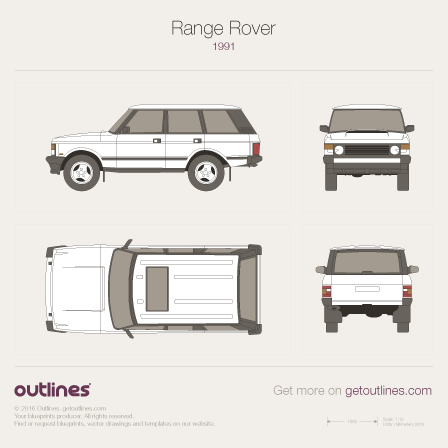 1970 Land Rover Range Rover Classic SUV blueprint