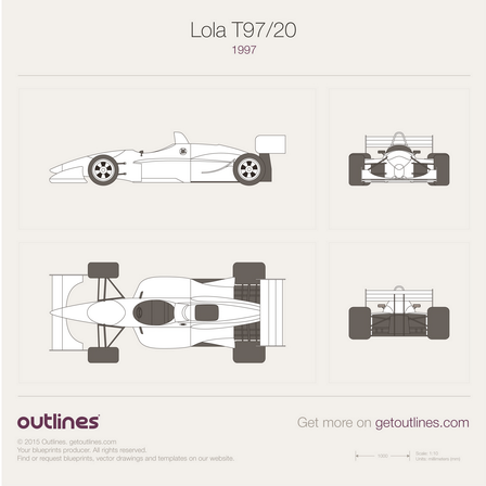 1997 Lola T97/20 Formula blueprints and drawings