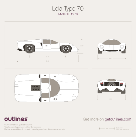 1970 Lola T70 Mk III GT Coupe blueprints and drawings