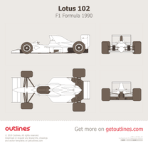 1990 Lotus 102 F1 Formula blueprint