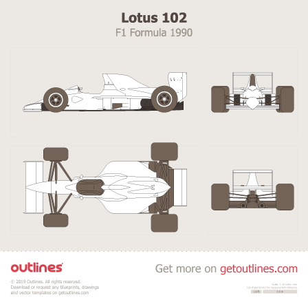 1990 Lotus 102 F1 Formula blueprints and drawings