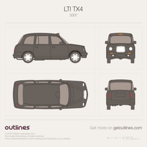 2007 Geely Englon TX4  London Taxi Black Cab Hatchback blueprint