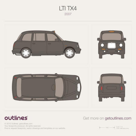 2007 LTI TX4 London Taxi Black Cab Hatchback blueprint