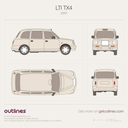 2007 LTI TX4 London Taxi Cab Hatchback blueprint