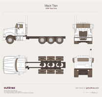 2008 Mack Titan Triple Drive Heavy Truck blueprint