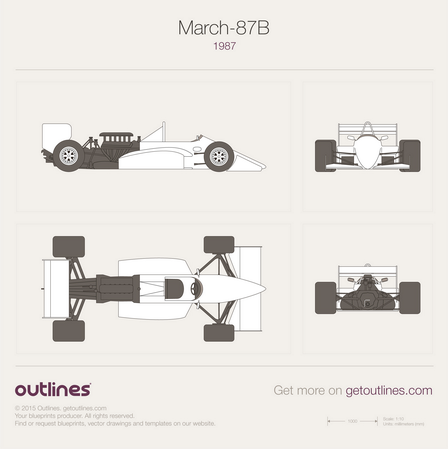 1987 March 87B GP F1 Formula blueprint