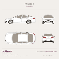 2007 Mazda 6 GH 5-door Liftback Hatchback blueprint