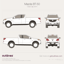 2011 Mazda BT-50 Crew Cab Pickup Truck blueprint