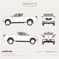 2015 Mazda BT-50 Crew Cab Facelift Pickup Truck blueprint