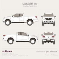 2015 Mazda BT-50 Crew Cab Facelift Pickup Truck blueprint