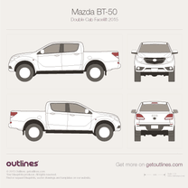 2015 Mazda BT-50 Double Cab Facelift Pickup Truck blueprint
