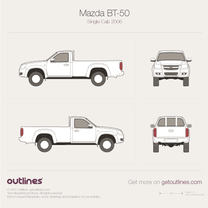 2006 Mazda BT-50 Single Cab Pickup Truck blueprint