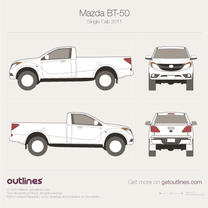 2011 Mazda BT-50 II Single Cab Pickup Truck blueprint