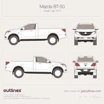 2011 Mazda BT-50 II Single Cab Pickup Truck blueprint